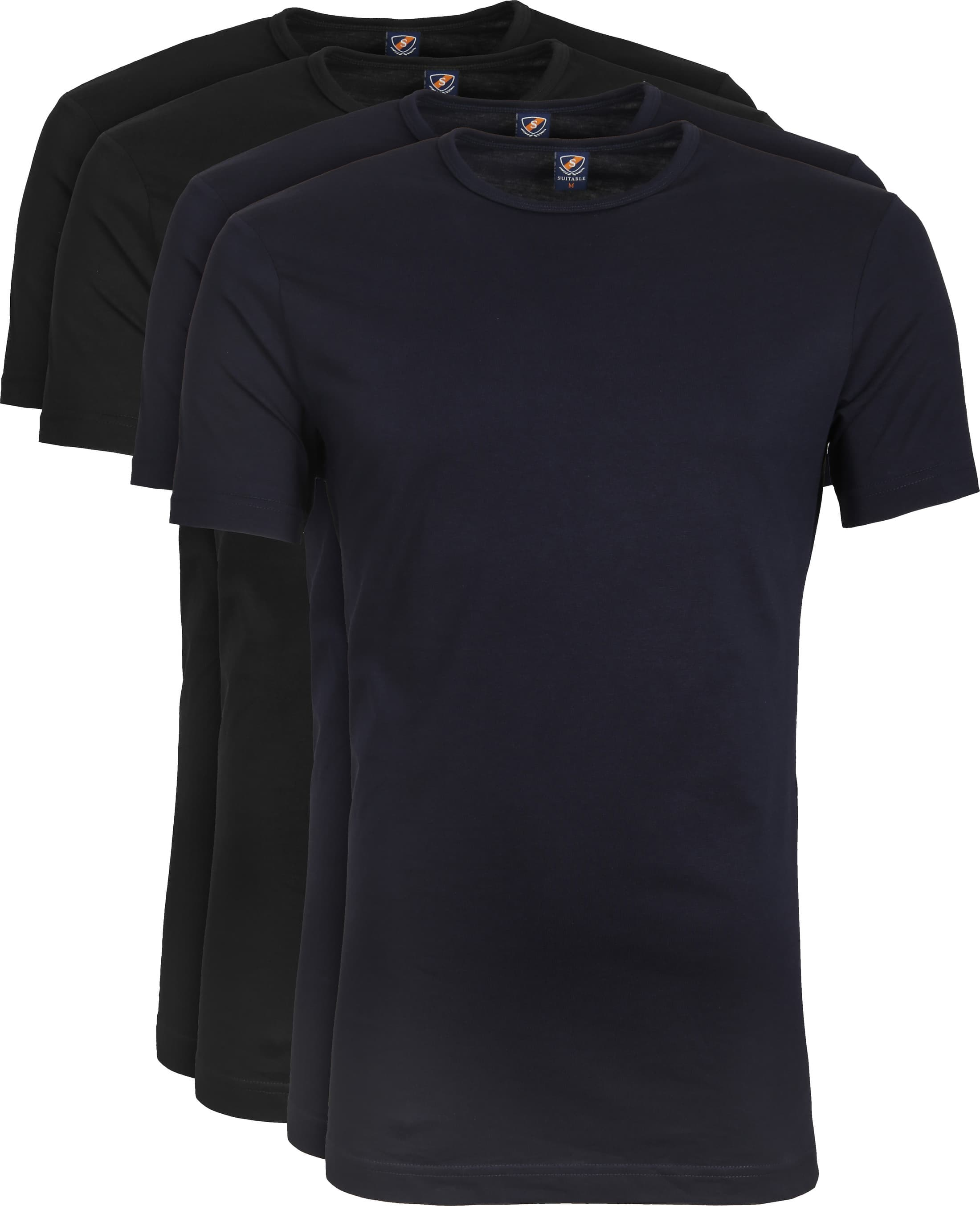 Suitable T-shirt 4-Pack O-Neck Zwart Navy foto 0