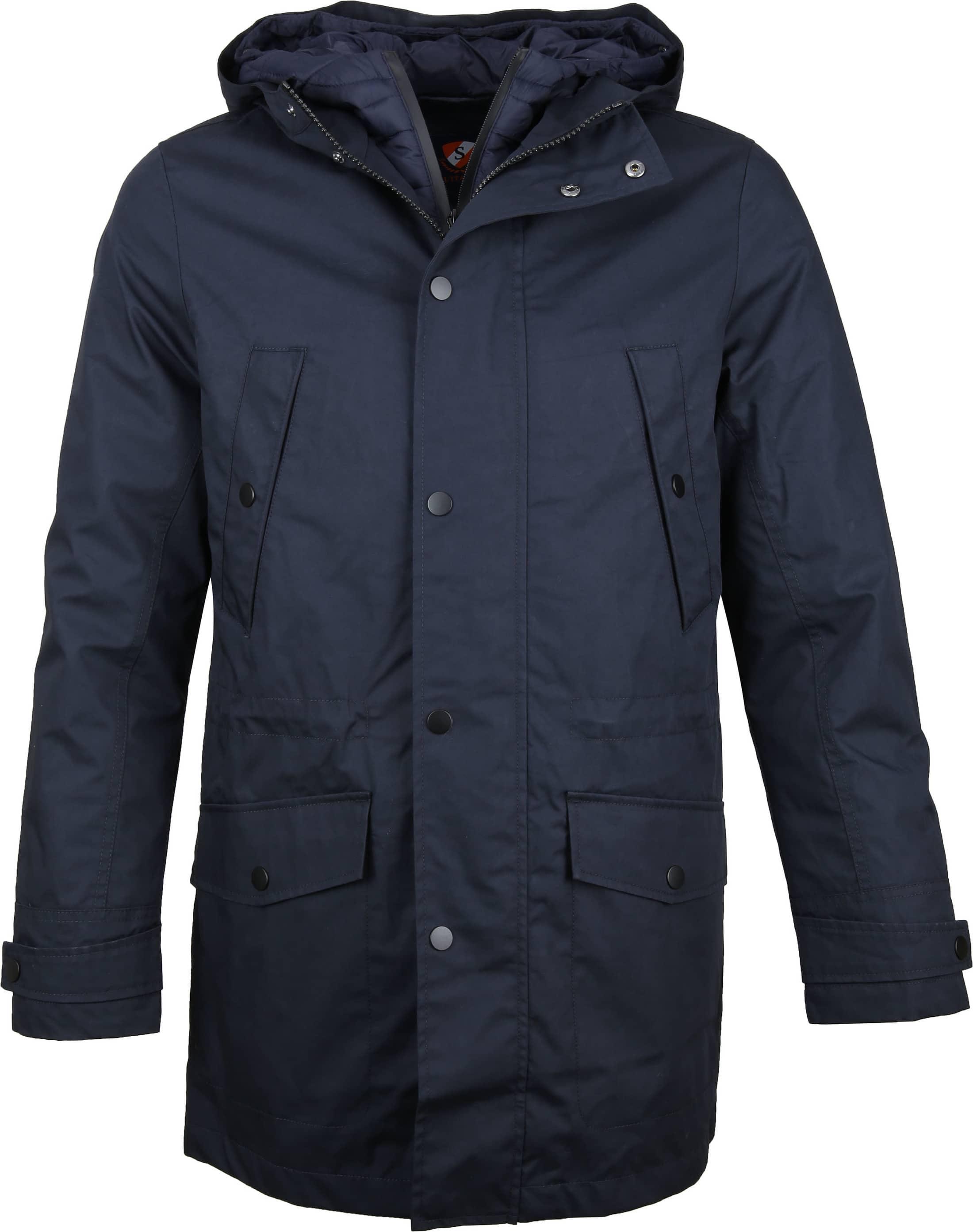 Suitable Winterjas Waxed-look Donkerblauw foto 0