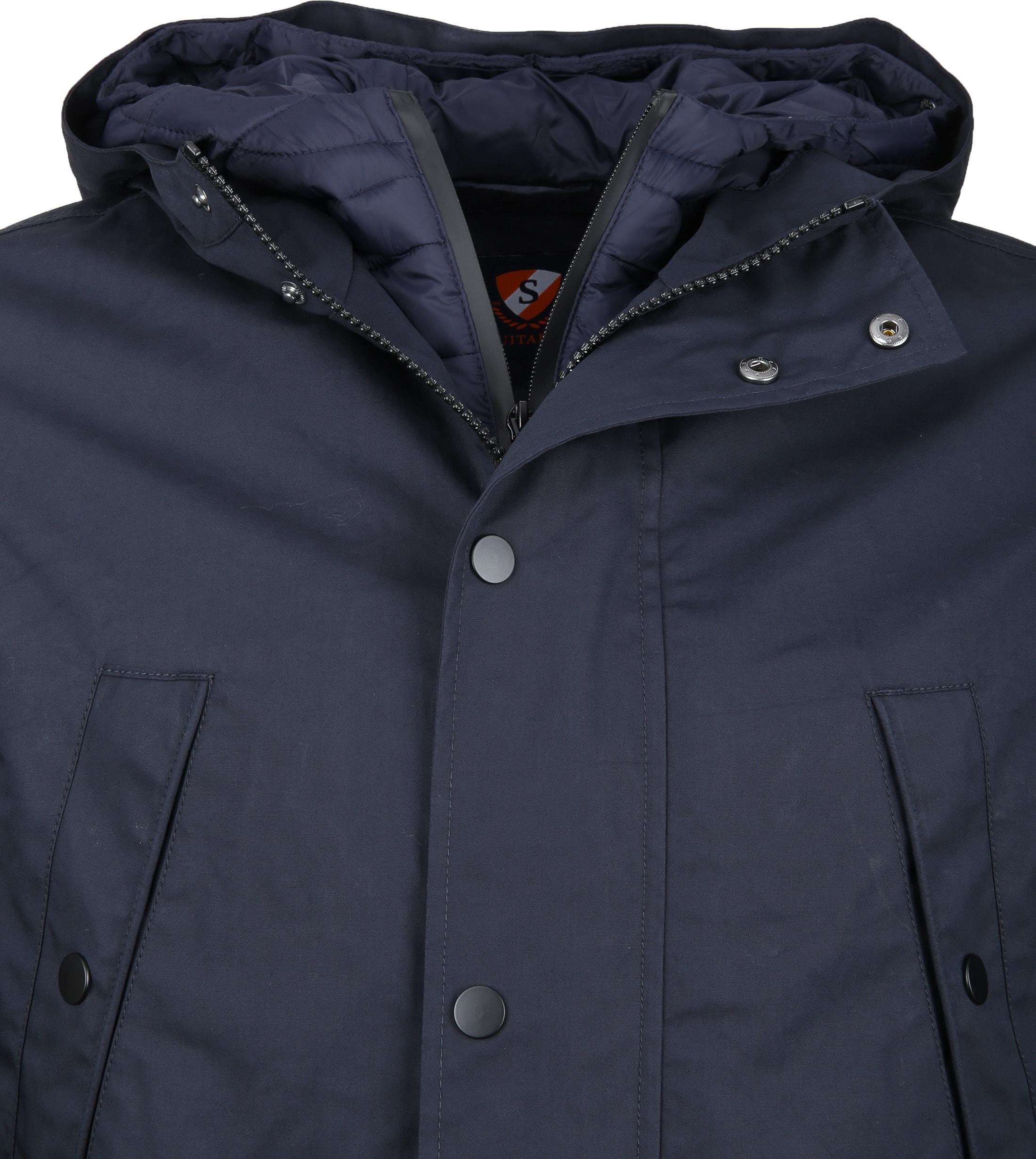 Suitable Winterjas Waxed-look Donkerblauw foto 1
