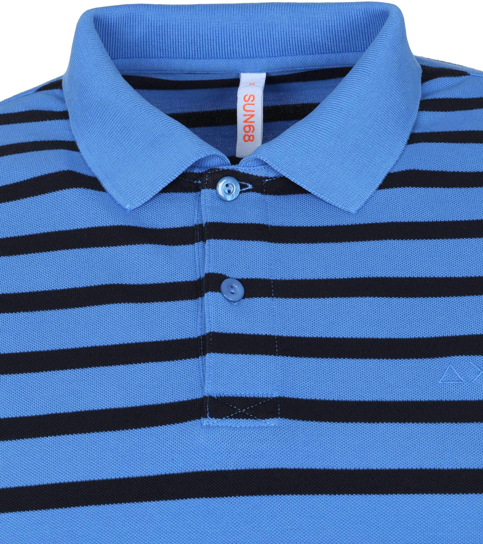Sun68 Polo Cold Dye Stripes Blauw