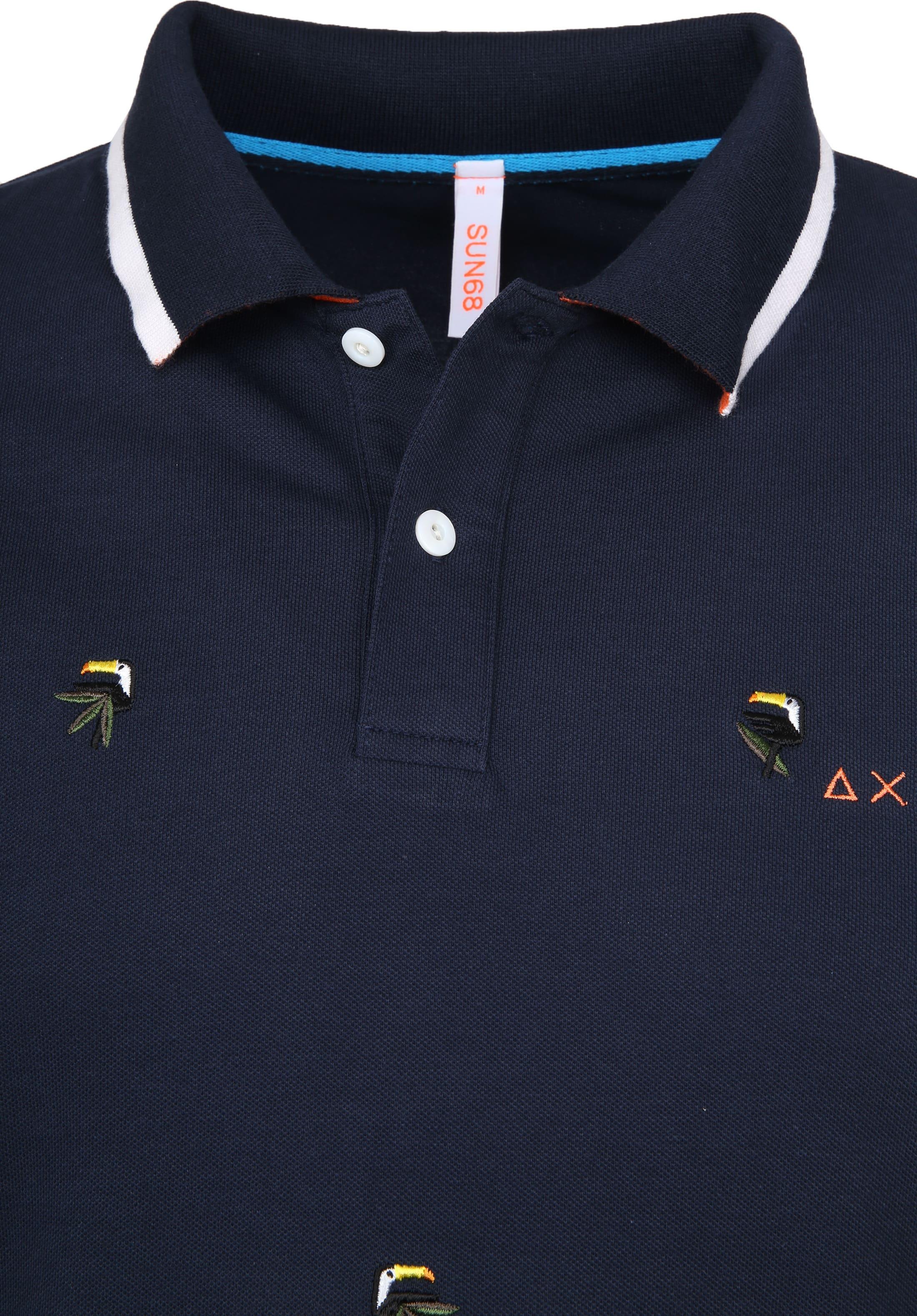 Sun68 Poloshirt Embrodery Bird Navy A19122 07 Online Kaufen Suitable