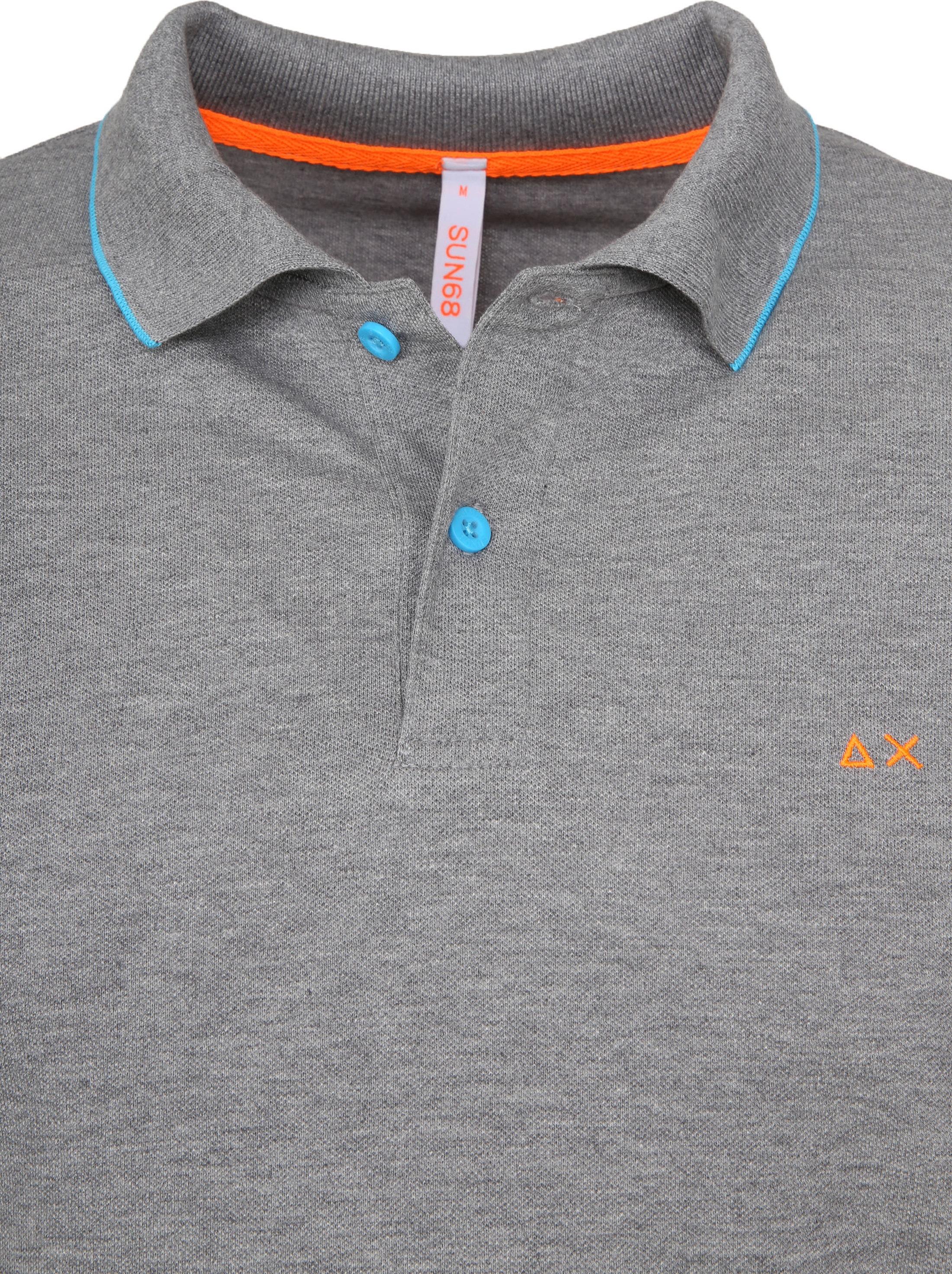 Sun68 Poloshirt Small Stripes Fluo Grau foto 1