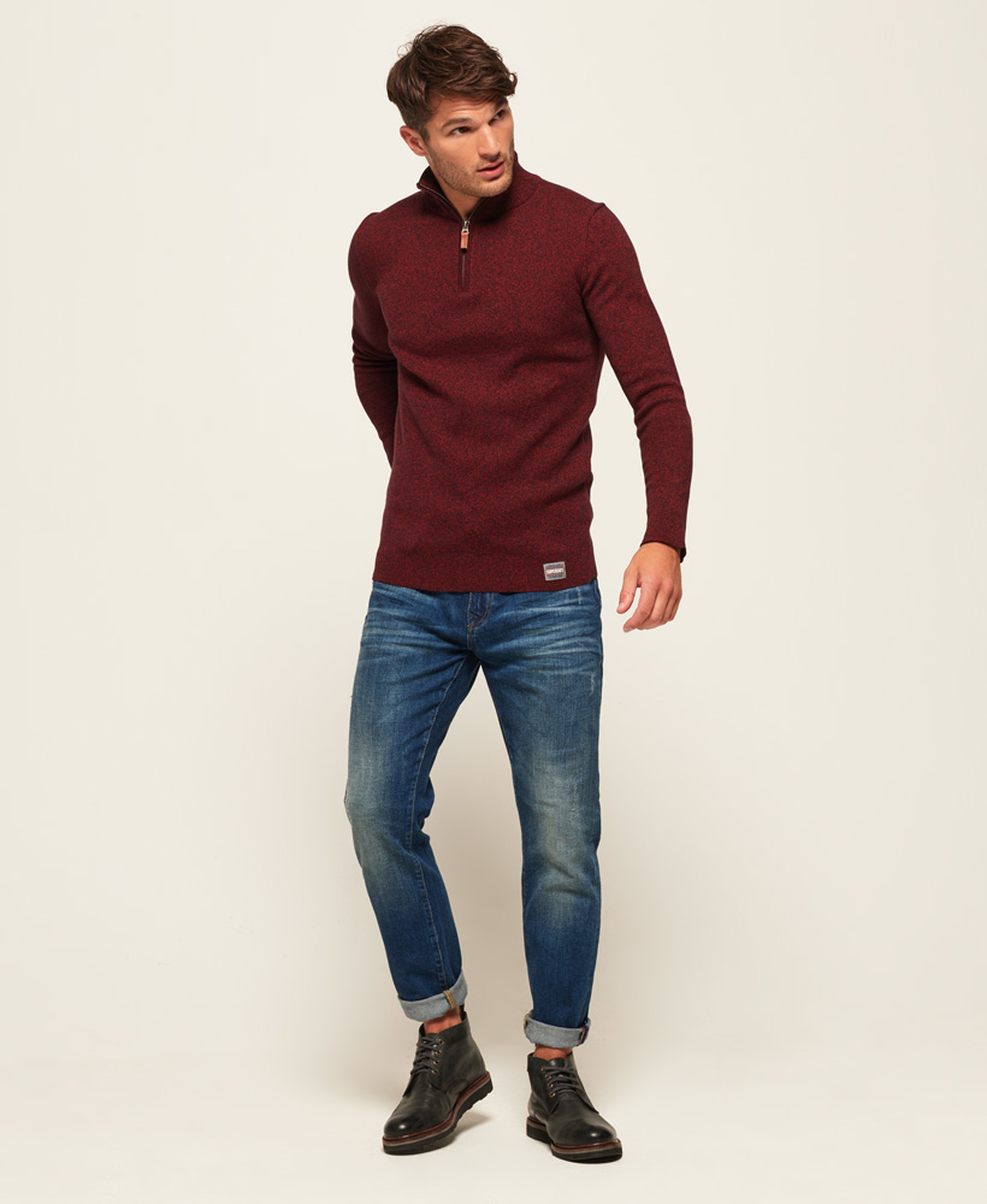 Superdry Sweater Melange Rood Rits foto 6