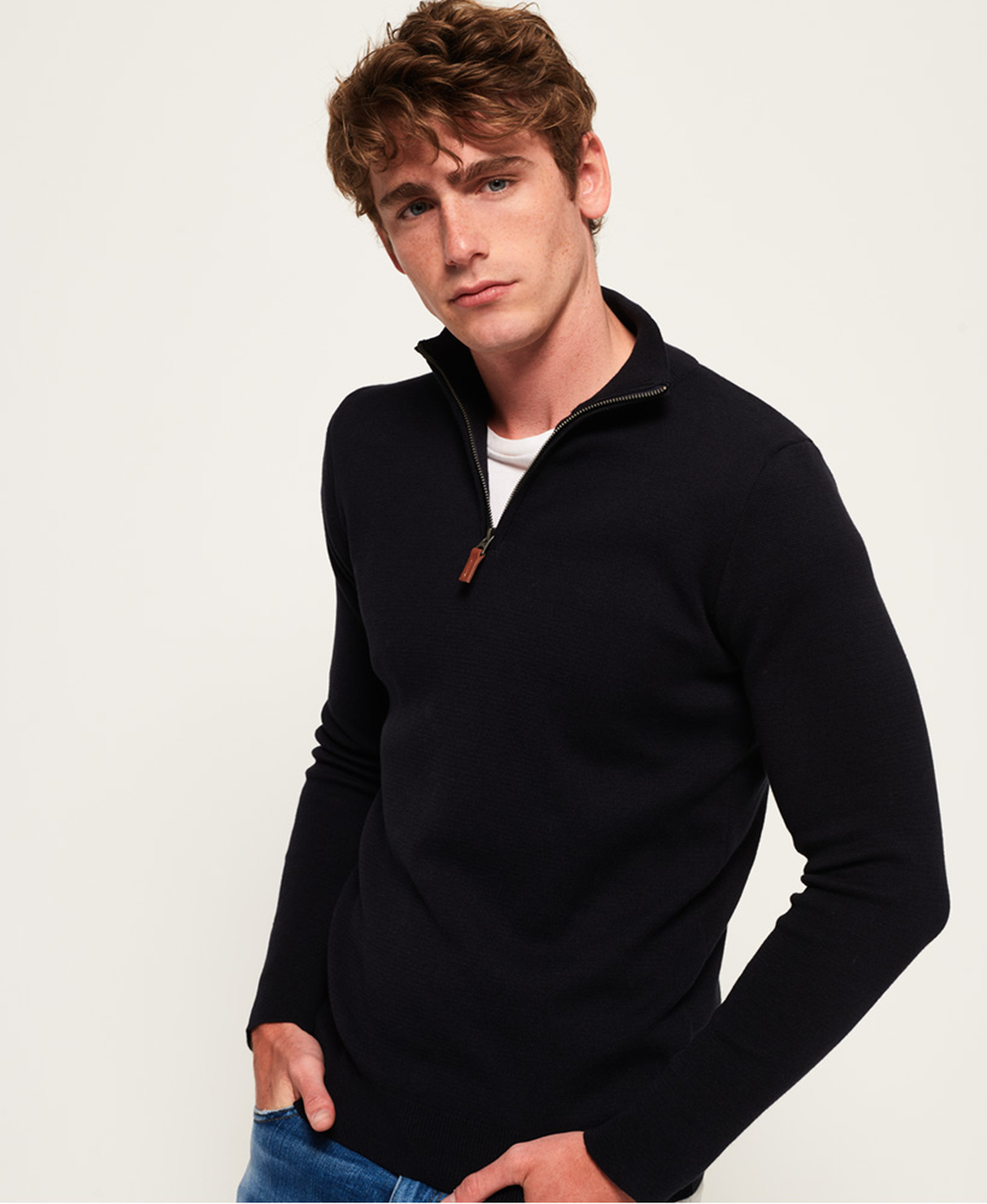 Superdry Sweater Navy Rits foto 1