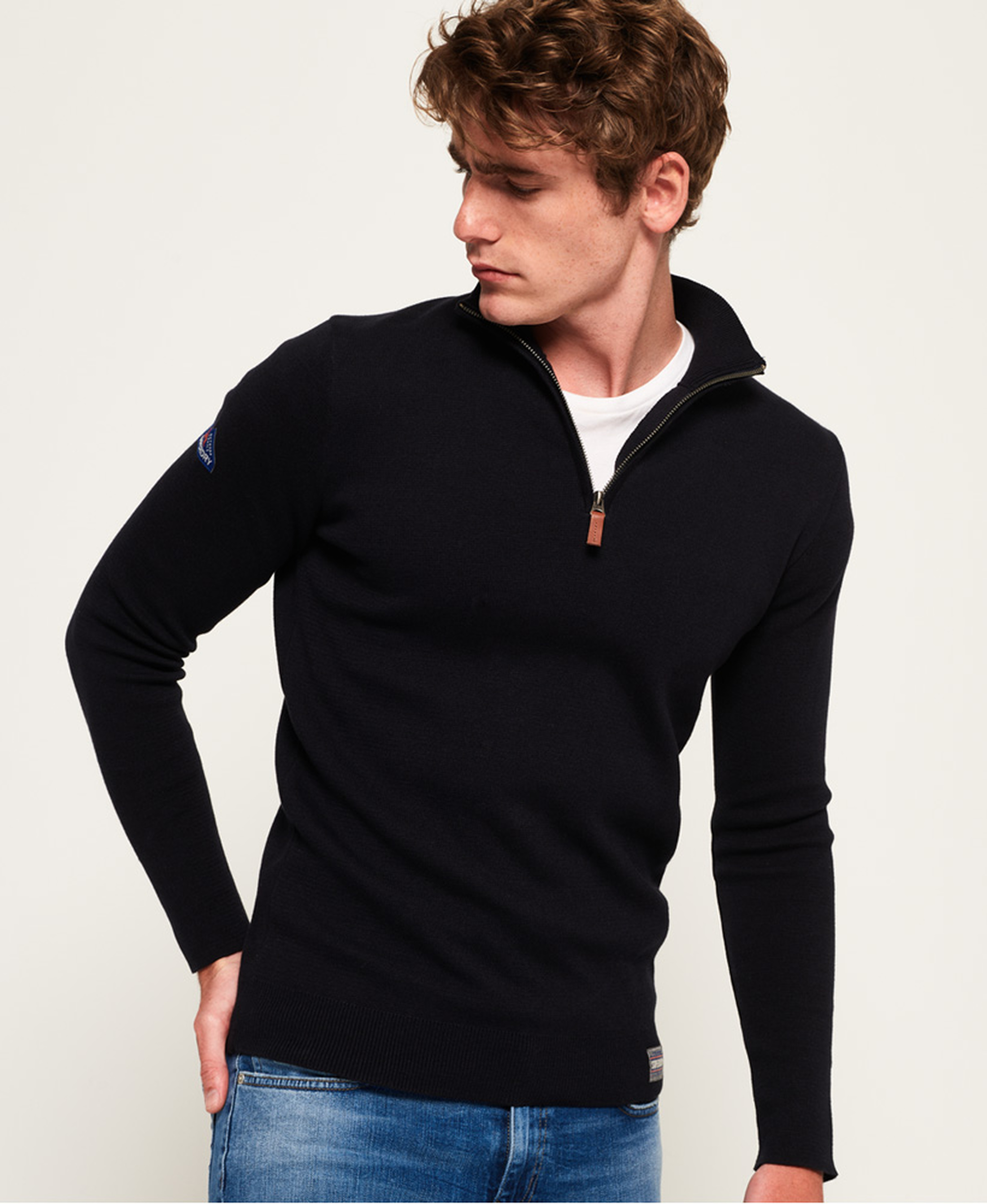 Superdry Sweater Navy Rits foto 7