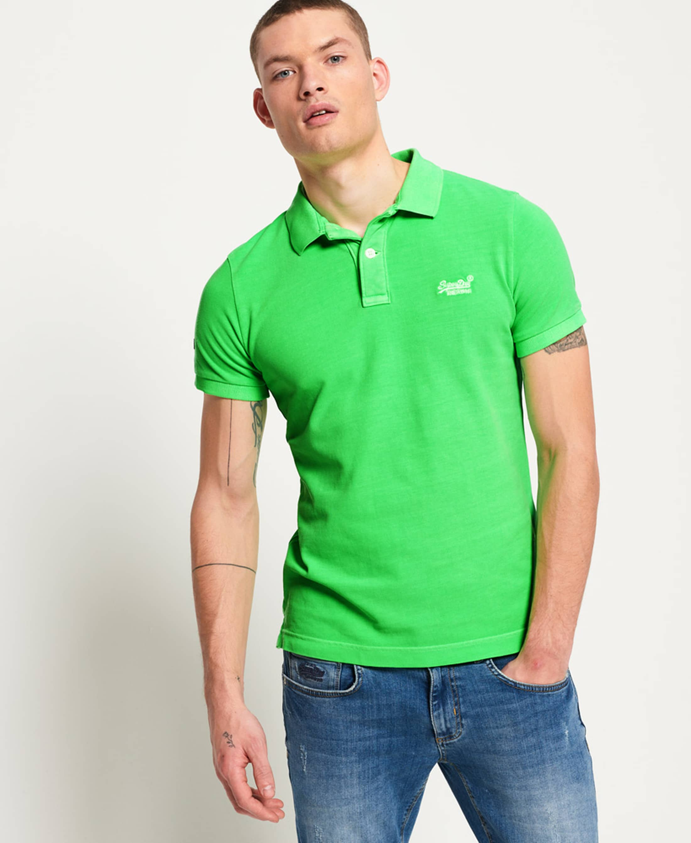 Superdry Vintage Destroyed Polo Neon Green foto 4
