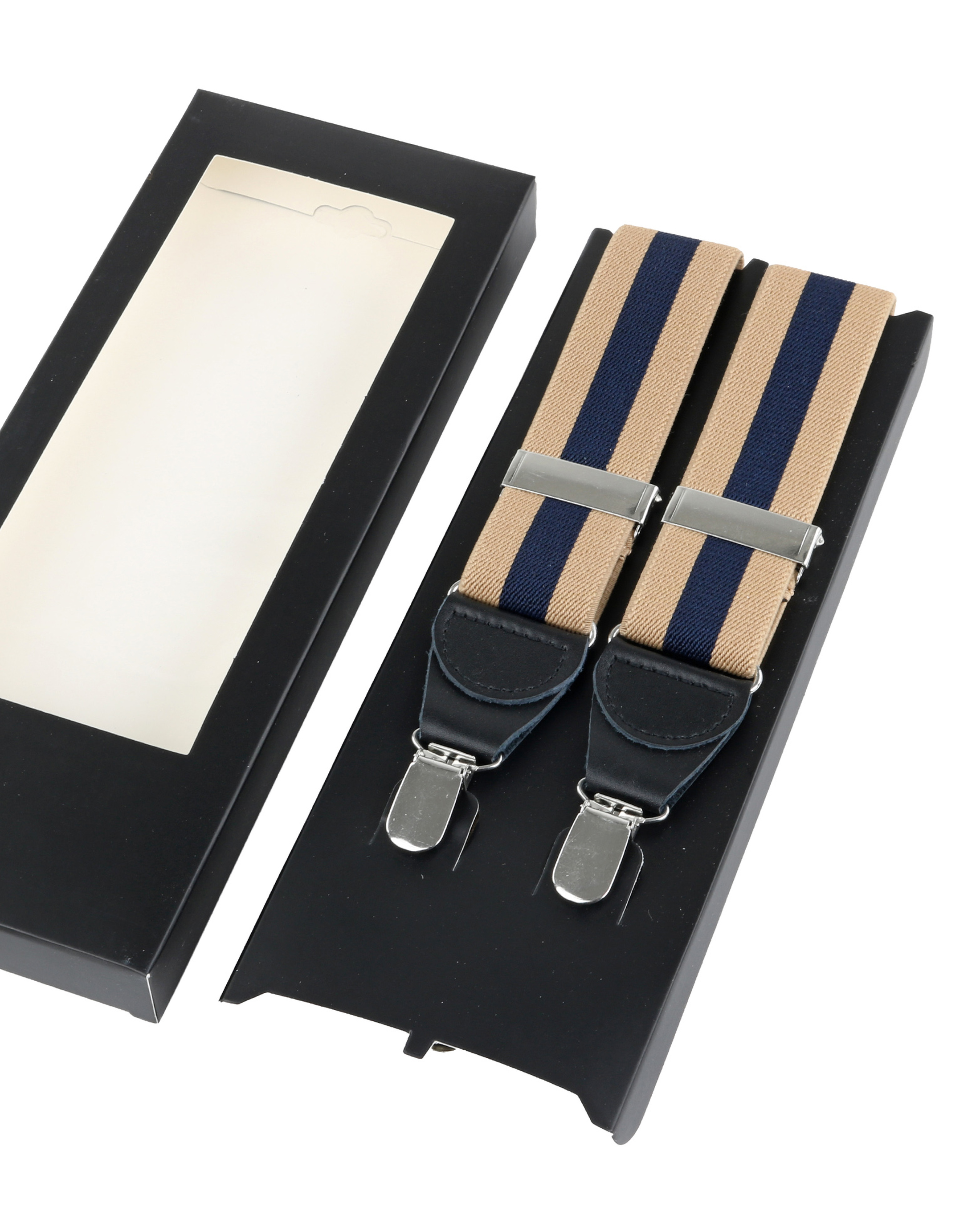 Suspenders Striped Camel + Navy foto 2