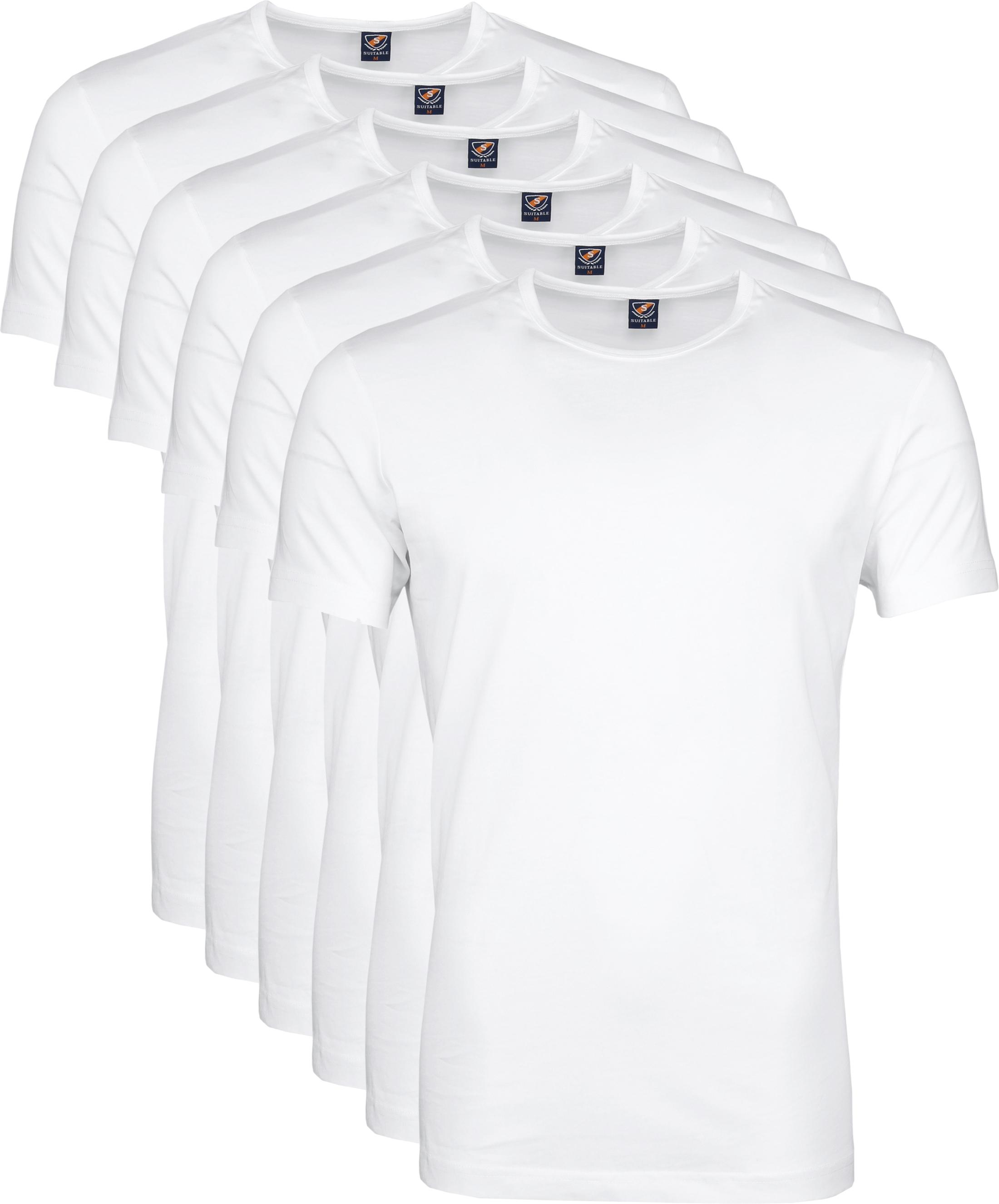 T-Shirt Rund Hals 6-Pack (6 Stück) Weiß foto 0
