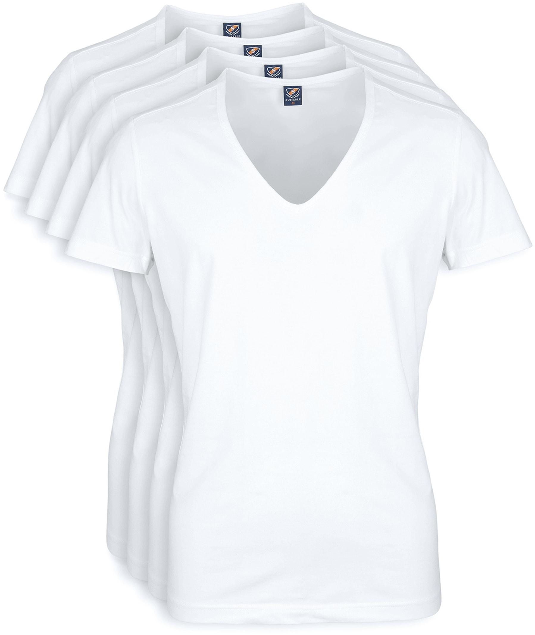 T-Shirt Tiefer V-Ausschnitt 4er Pack Stretch Weiß