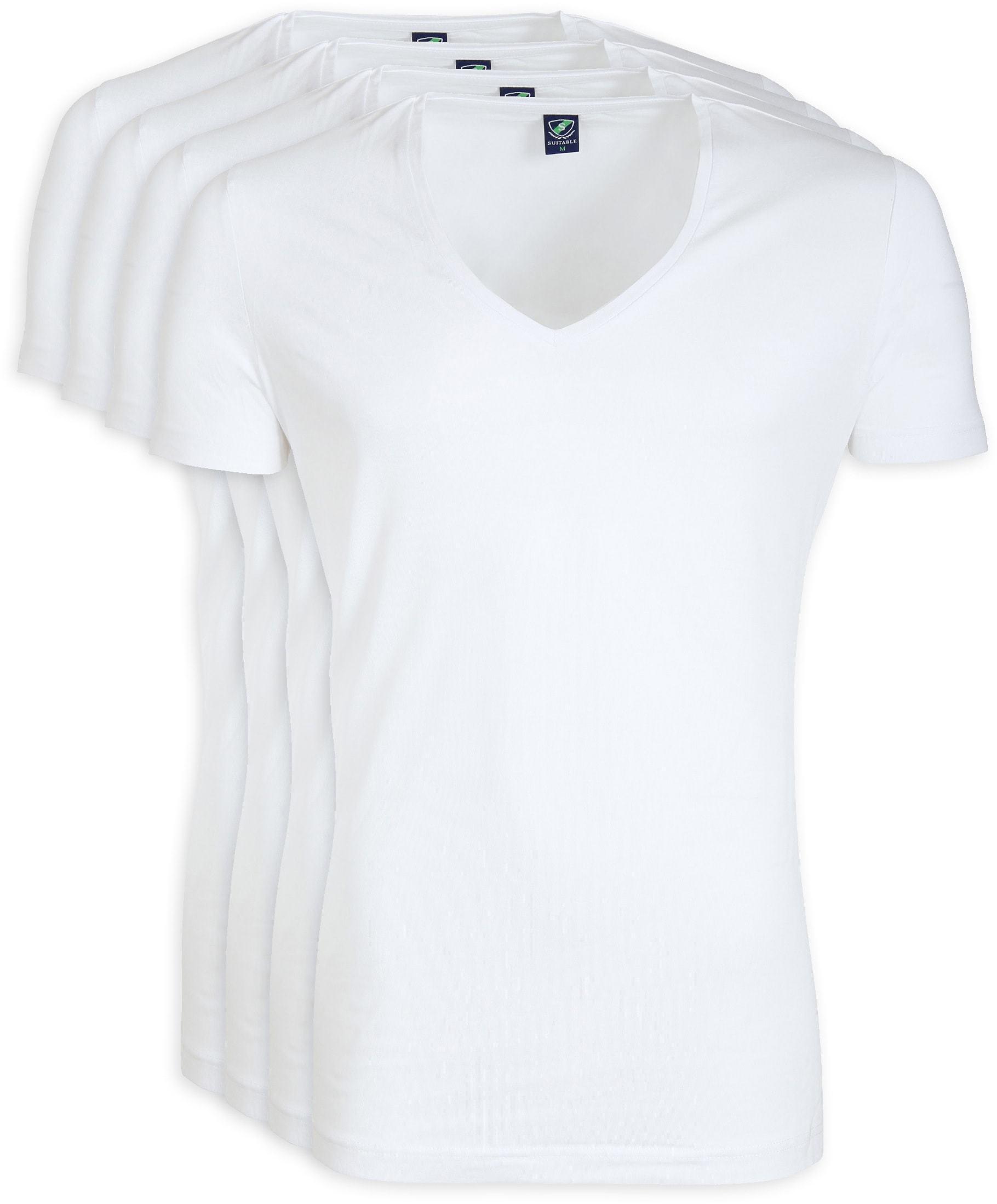 Tiefer V-Ausschnitt 4-Pack Stretch Bambus T-Shirt Weiß foto 0