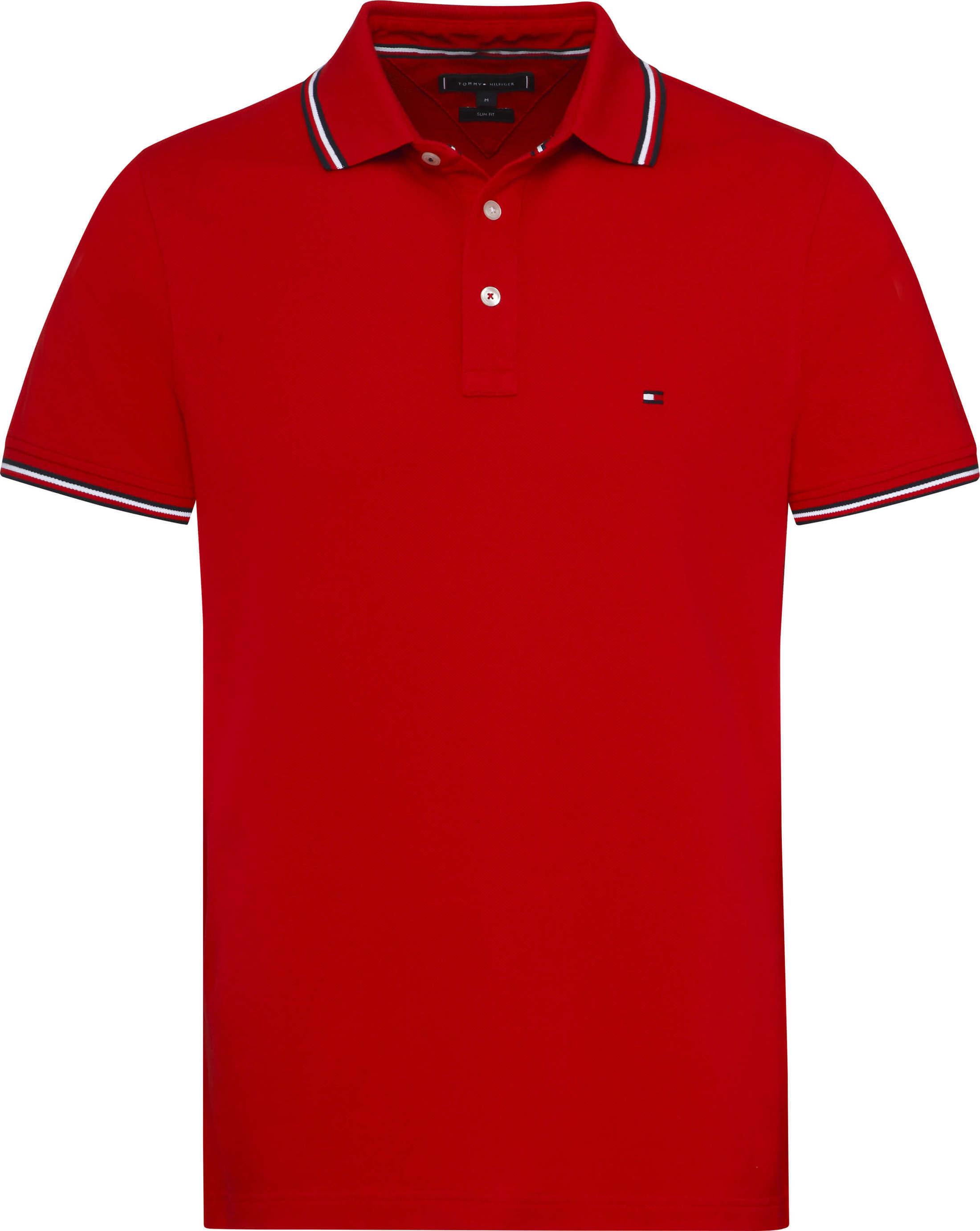 Tommy Hilfiger Stripes Poloshirt Red foto 0