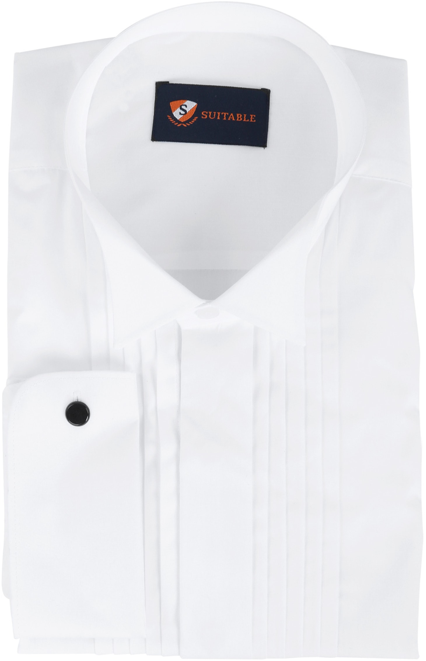 Tuxedo Shirt Pleated White foto 0