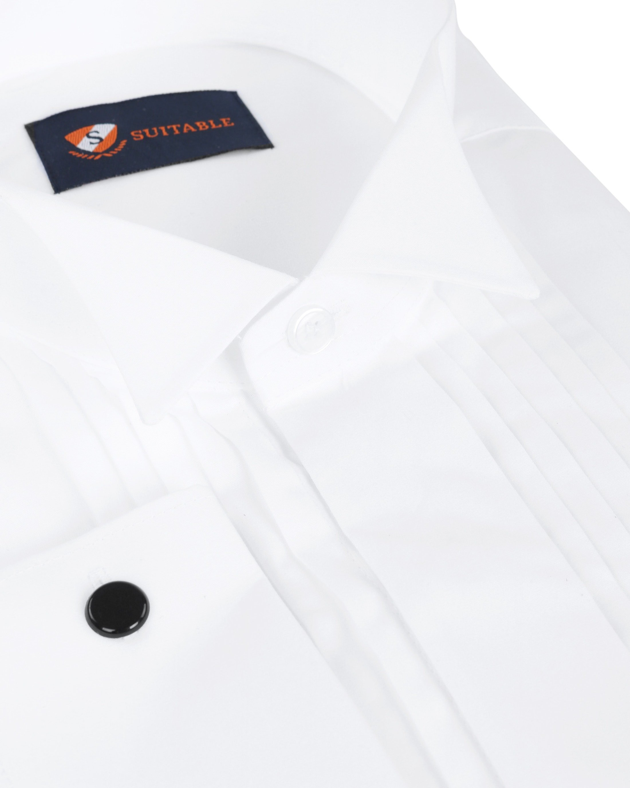 Tuxedo Shirt Pleated White foto 1