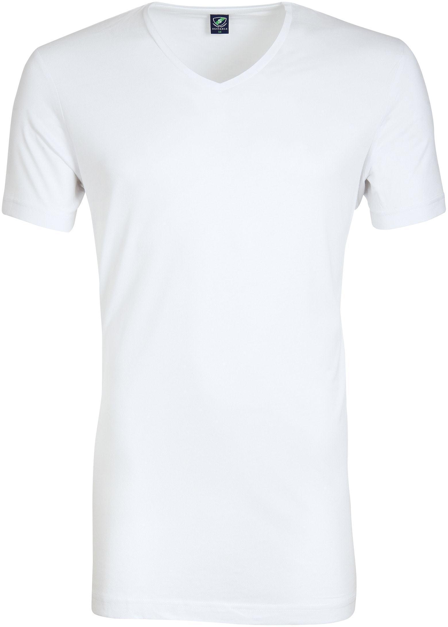 V-Ausschnitt 6-Pack Bambus T-Shirt Weiß foto 1