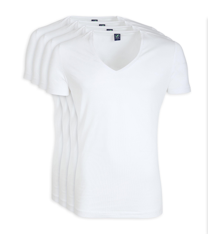 V-Ausschnitt 6-Pack Bambus T-Shirt Weiß foto 3