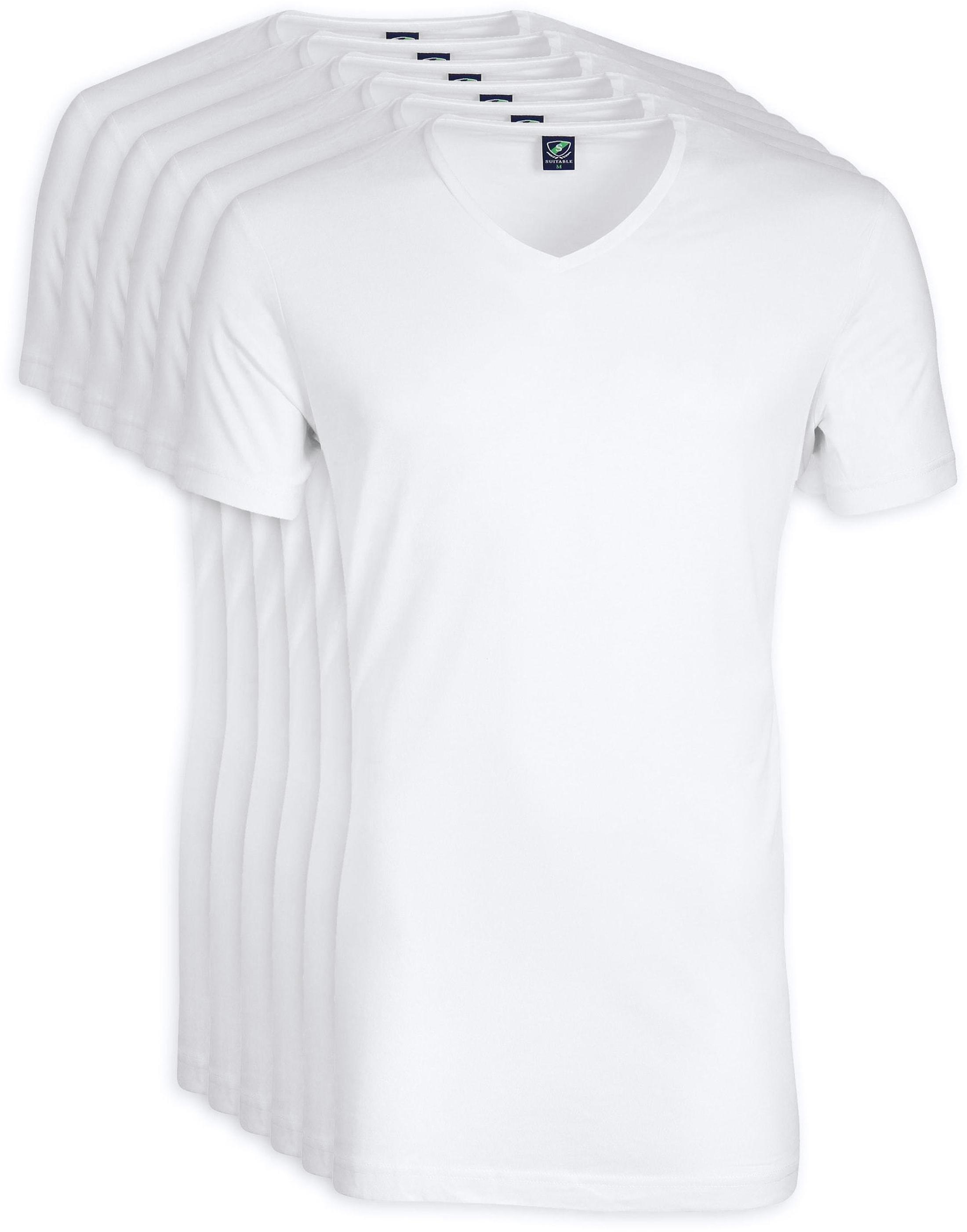 V-Ausschnitt 6-Pack Bambus T-Shirt Weiß Foto 0