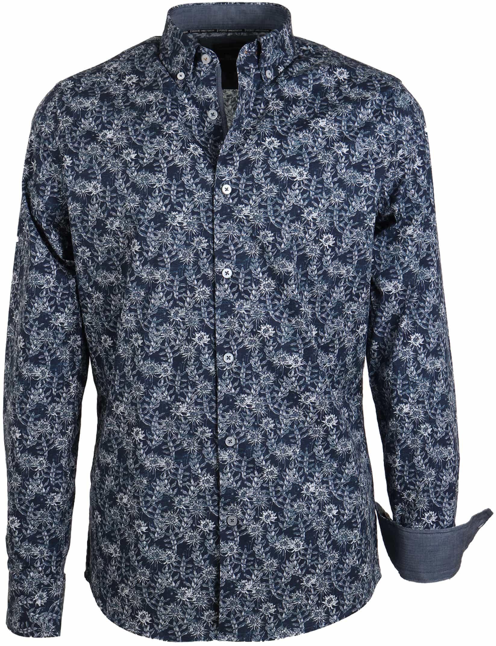 Vanguard Shirt Donkerblauw Bloemen foto 0