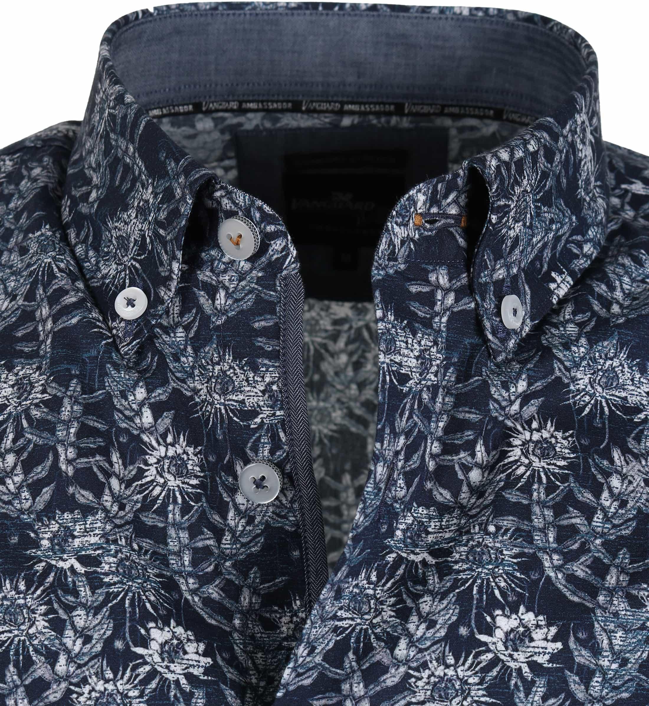 Vanguard Shirt Donkerblauw Bloemen foto 2